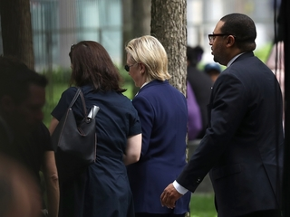 Clinton leaves 9/11 memorial service early