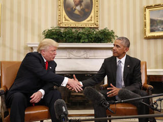 Obama 'encouraged' by meeting with Trump