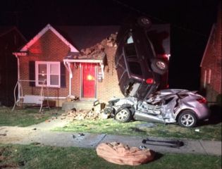 Car nearly lands on the roof of house in Va.