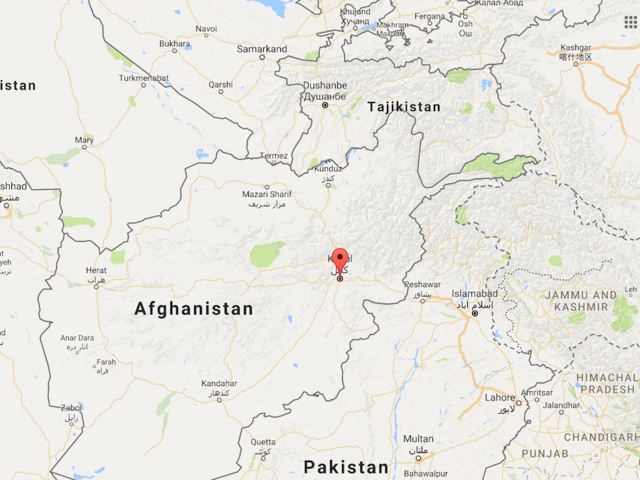 Screen shot of Google Map of Kabul Afghanistan