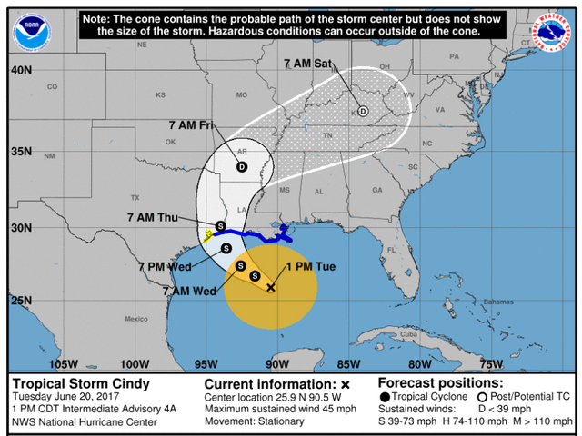 Tropical Storm Cindy churns toward Gulf Coast