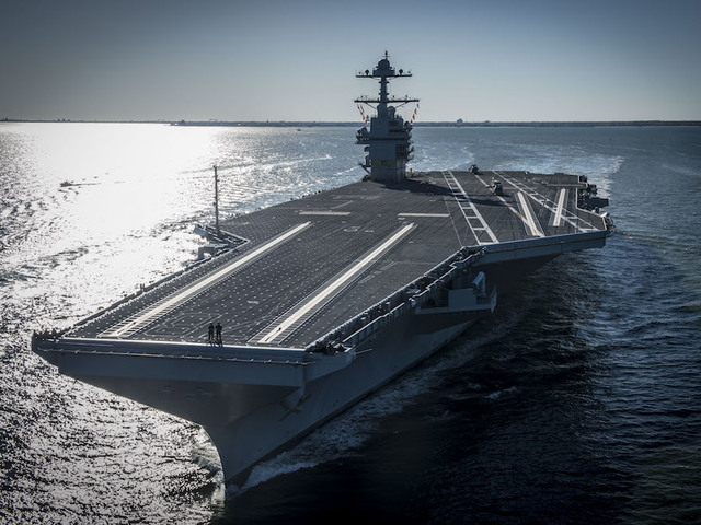 Ford aircraft carrier gets commissioned in Virginia