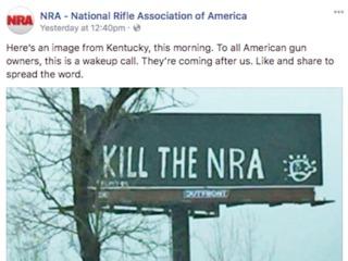 Billboard vandalized to read 'Kill the NRA'